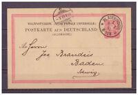 Deutsches Reich, Ganzsache P 8 II/02 K 1 Plauen nach Baden, Schweiz 1883