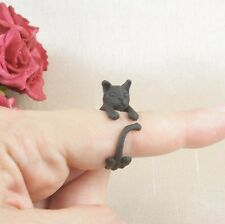 Matt Black Plated Cute Cat Kitten Ring Size N - Adjustable