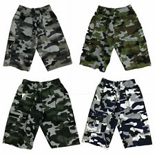 Boys Kids Shorts Army Camo Camouflage Combat Cargo Pocket Summer Fashion Chino