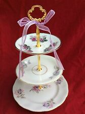 Wedding Cake Stand 3 tier Tidbit Servig Tray Mix Match Lavender Jewelry Tray