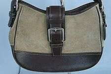 COACH Purse Beige Suede with Leather Trim Vintage Satchel Shoulder Handbag 7589