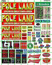 7008 DAVE'S DECALS HO DECALS POLE LAND STRIP ADULT CLUB BAR SET W/ BEER AD SET