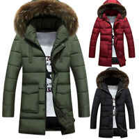 Mens Warm Winter Parka Quilted Padded Hooded Long Jacket Outwear Fur Collar Coat