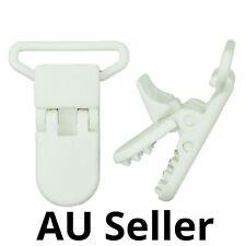 40 White Plastic KAM Pacifier Suspender  DIY Dummy Clip Craft Badge Holder AU