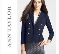 Ann Taylor Sz M Ribbed Double Breasted Military Blazer Jacket Navy Blue Womens