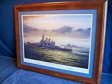 """FRAMED MILITARY NAVAL WORLD WAR II  ART PRINT """"ARCTIC GUARDIAN""""  BY A. SAUNDERS"""