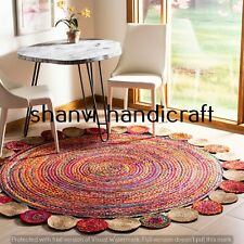Braided Bohemian Round 210 CM Jute Cotton Handwoven Floor Carpet Area Rug Carpet