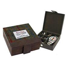 Harris Tweed Gemelos & Caja De Reloj (breanais verde) en caja de regalo de bolsa británico Co