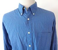 J Crew Large Shirt Micro Check Button Up Blue White Long Sleeve Cotton Oxford