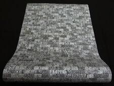 """6941-15-) 8 Rollen """"Brix"""" Vliestapeten Design in grau + glänzend silber"""