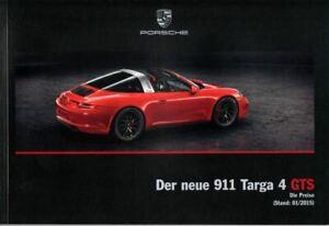 Porsche 911 Targa 4 GTS 2015 Preisliste Prospekt brochure price list DEUTSCH