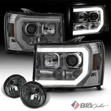 For 07-14 Sierra Smoked Fiber-Optic-Light-Tube Projector Headlights + Fog Lights