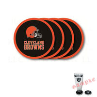 Brand New 4pcs Set NFL Cleveland Browns Heavy Duty Rubber Vinyl Coasters