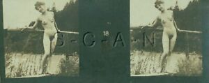 Original Antique B/W Nude Real Photo- Double Stereoscope- Woman Stands on Bridge