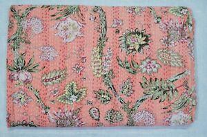 Queen Size Indian Handmade Ethnic Cotton Bedspread Ralli Kantha Quilt Blanket