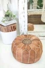 SALE! Moroccan Genuine Leather Boho Pouf Ottoman Footstool Pouffe Brown Camel