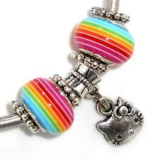 HELLO KITTY CAT ICON EUROPEAN STYLE GLASS BEAD CHARM for BRACELET 7 PC SET USA