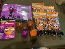 Lot of Halloween Goodies Crafts Packaging Skulls Baskets Fun