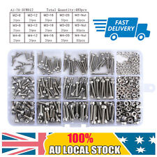 480x Stainless Steel Hex Socket Cap Head Bolts Screws Nuts Kit M2 M3 M4 304 AU