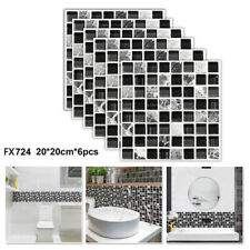 6pcs Kitchen Tile Stickers Bathroom Mosaic Sticker Self-adhesive Wall Decor UK