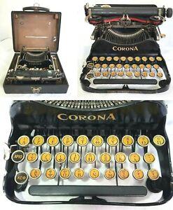 Rare Antique Corona #3 Folding Typewriter Greek Keyboard Alphabet Original Case