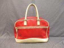 Auth miumiu Red Beige Leather Handbag w/ Dial Lock