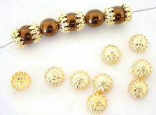 100 Fancy Lace Gold Filigree Beadcaps Bead Caps 8MM