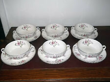 SIX ROYAL ADDERLEY [RIDGWAYS] SOUP BOWLS AND SAUCERS IN FRAGRANCE PATTERN