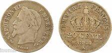 Second Empire, 20 centimes tête laurée, petit module, Bordeaux, 1864, RARE - 9