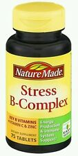 Nature Made STRESS B-COMPLEX Vitamin C & Zinc 75 Tablets immune support 01/2018
