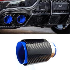 """2.5""""/63mm Inlet Universal Car Exhaust Muffler Tip Stainless Steel+Carbon Fiber"""