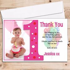 10 Personalised Girls 1st First Birthday Thank You PHOTO Cards N192