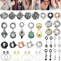1 Pair Stainless Steel Ear Gauges Earrings Flesh Tunnels Plugs Piercing Jewelry
