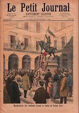 Manifestation Statue de Jeanne D'arc Place des Pyramides Paris 1894 ILLUSTRATION
