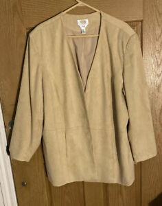 Talbots Tan Soft Mole Skin Open Jacket size 20W. Stretch Feels like suede! NWOT