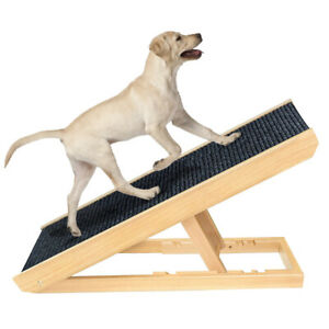 Wooden Adjustable Pet Ramp Folding Portable Dog & Cat Ramp Perfect for Bed & Car