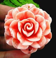 Beautiful pink Giant clam carved flower pendant bead 50x18mm BD270
