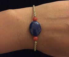 Bracelet En Or Jaune 18K Avec Lapis Lazuli Et Corail