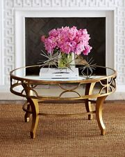 NEW STUNNING Horchow LENA Fretwork mirror top Coffee table Antique Gold Round