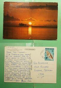 DR WHO 1980 FRENCH POLYNESIA FAAA TAHITI SUNSET POSTCARD TO USA  g00019