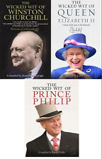 Wicked Wit of Winston Churchill Prince Philip Elizabeth 3 Books Collection Set