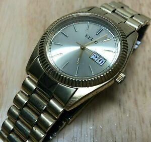 Vintage Relic Mens Gold Fluted Bezel Analog Quartz Watch Hours~Date~New Battery