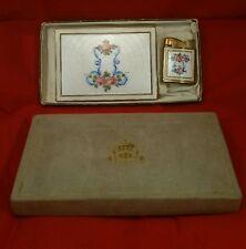 Vintage Evans Cigarette Case And Lighter 1950's Guilloche Floral Design Lighter