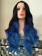 Blue Wig Ombre Black Wavy Layered Heat Resistant Ok 24 Inch Long