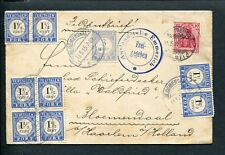 1915 FELDPOST env Naumburg/Saale > Bloemendaal; PORT P 48 + blok + paartjes P 15