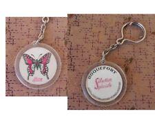 ancien PORTE CLE publicitaire roquefort selection speciale decor papillon