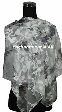 """New Stunning 60""""x20"""" 100% Pure Silk Floral Sheer Scarf Shawl Wrap Off White/Gray"""