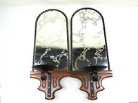 Vintage Mirror Wall Sconce Metal Veined Mirror Candle Holder Set of 2