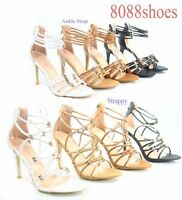 Women's Sexy Strappy Ankle Strap Open Toe Zip High Heel Sandal Shoes Size 5 - 10