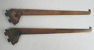 """Vintage Pair Grant Copper Adjustable Angle Slot 12"""" Shelf Support #33 Bracket"""